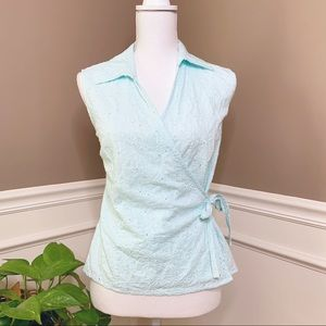 St. Tropez eyelet linen ice blue wrap top N0428
